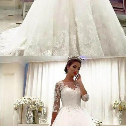Lace Bridal Dresses With Long Sleev..