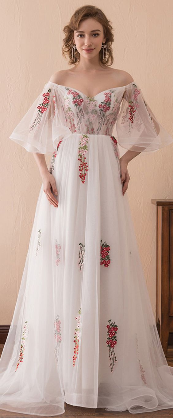 White Tulle Off-Shoulder Neckline Bell Sleeve A-Line Prom Dress with Floral Appliques