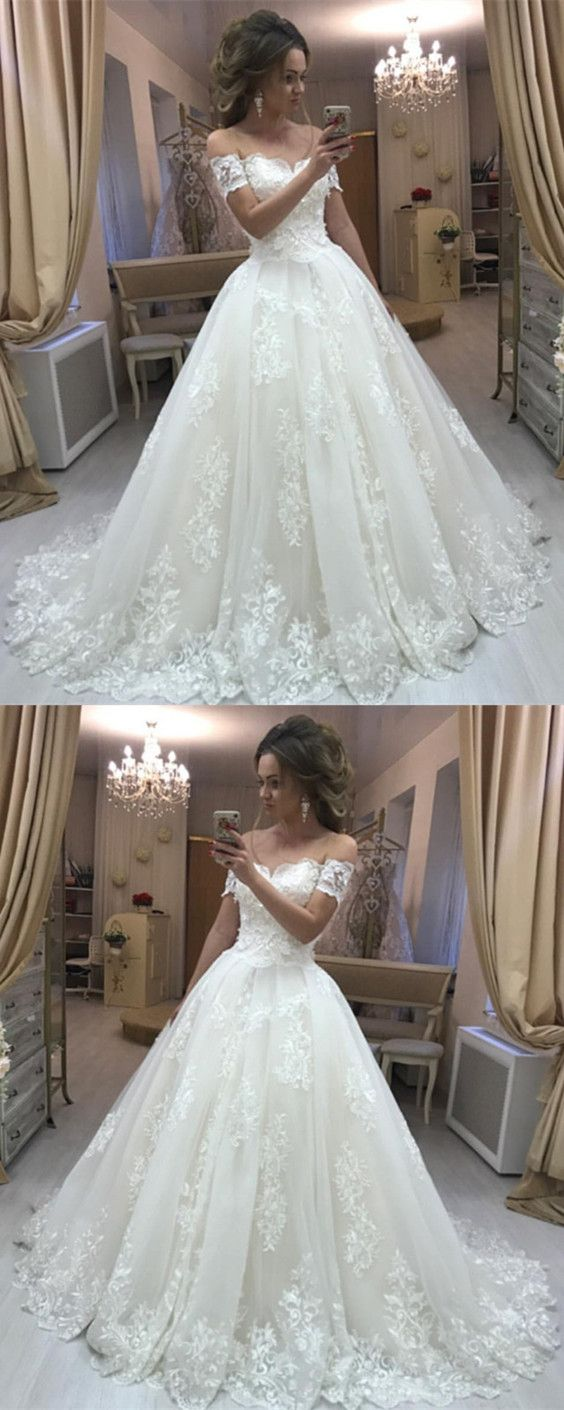Vintage Lace Embroidery Off Shoulder Tulle Wedding Dresses Princess M4649