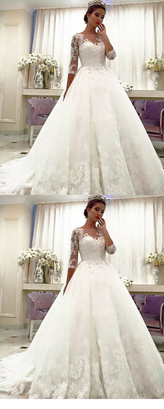 Lace Bridal Dresses With Long Sleeves Princess Wedding Gown M5405