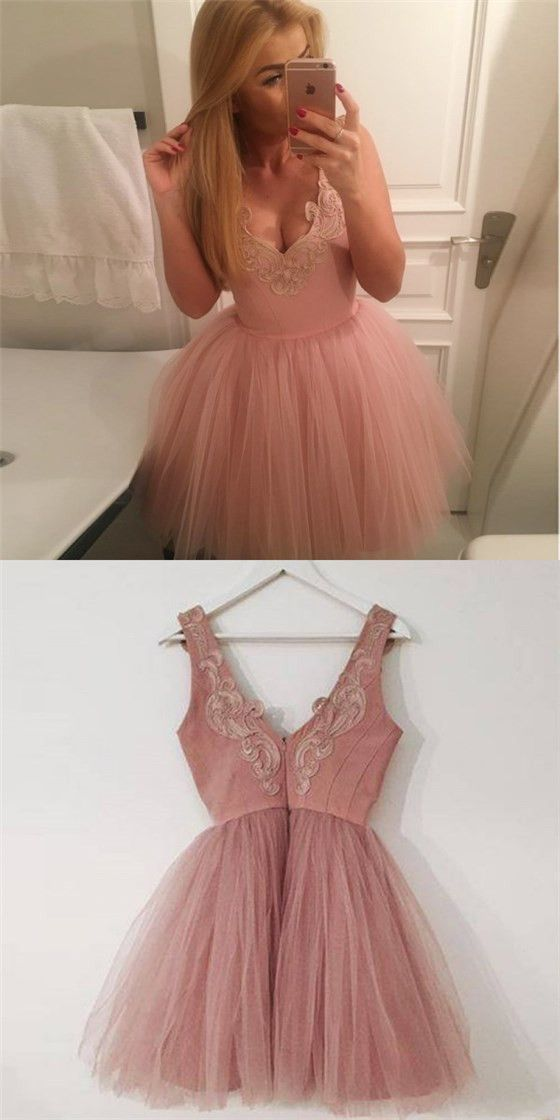 Pretty V-Neck Short Cheap Blush Pink Appliques Homecoming Dresses M7120