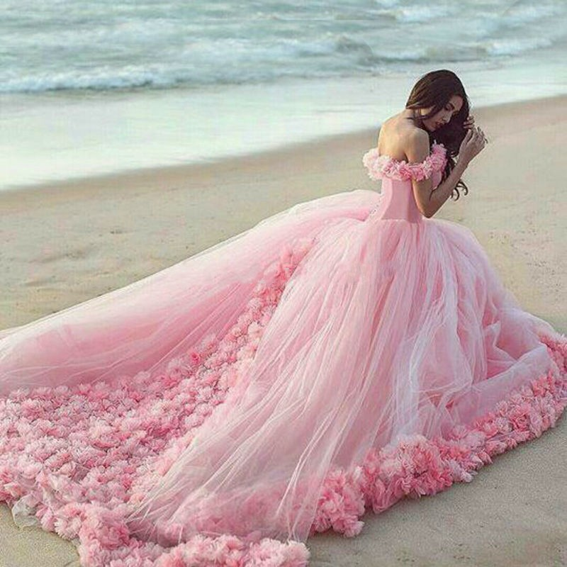 Pink cloud flower rose wedding dresses long tulle puffy for Pink ruffle wedding dress