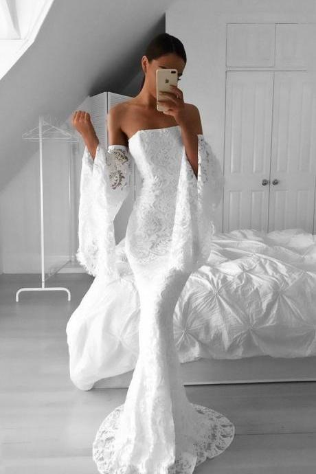 White Strapless Off-Shoulder Lace Mermaid Long Wedding Dress with Bell Sleeves