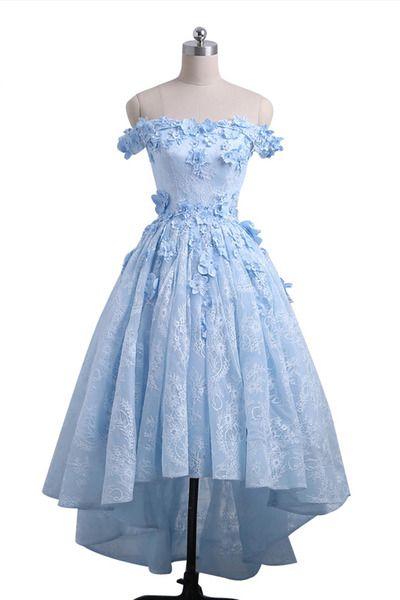 Custom Made Ice Blue Off Shoulder Lace and Floral High Low Homecoming Dress