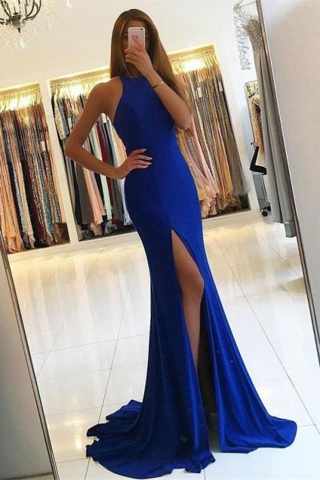 Royal Blue Prom Dresses,Mermaid Prom Dresses,Long Prom Dresses,Front Split Prom Dress,Evening Gowns,Prom Dresses For Teens,Modest Prom Gowns,Wedding Party Dresses M0524