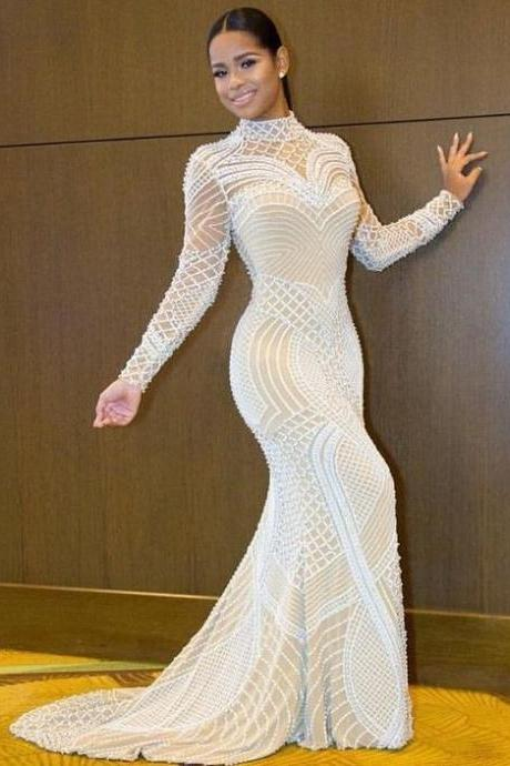Mermaid White Long Sleeves Open Back Beading High Neck Prom Dress M0761