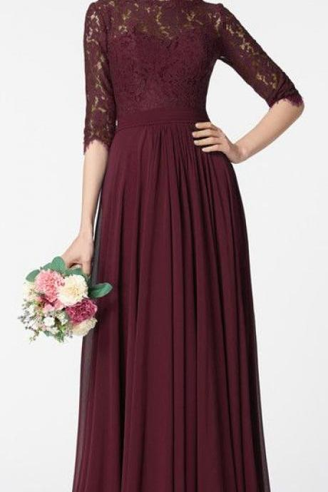 Modest Dark Burgundy Prom Dress Long Sleeves M1167