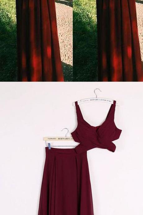 Sexy Two Piece Prom Dresses, 2 Piece Homecoming Dresses, Burgundy Homecoming Gowns M1168