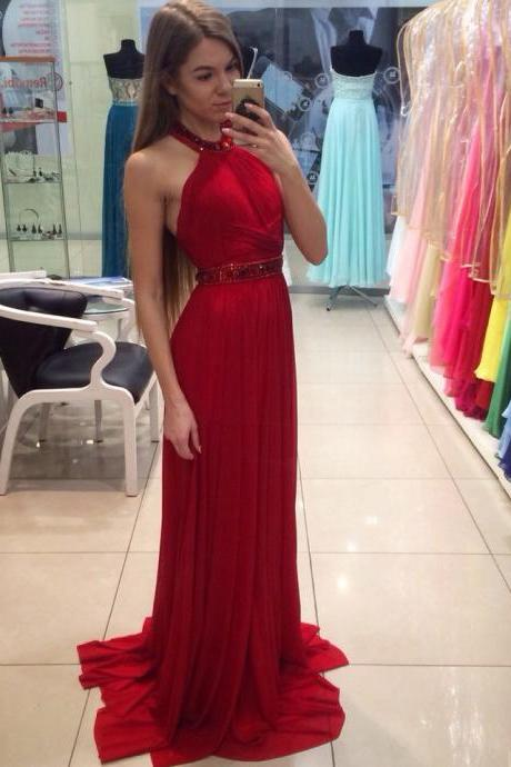 A-Line Halter Red Long Prom/Evening Dress With Beading M1685