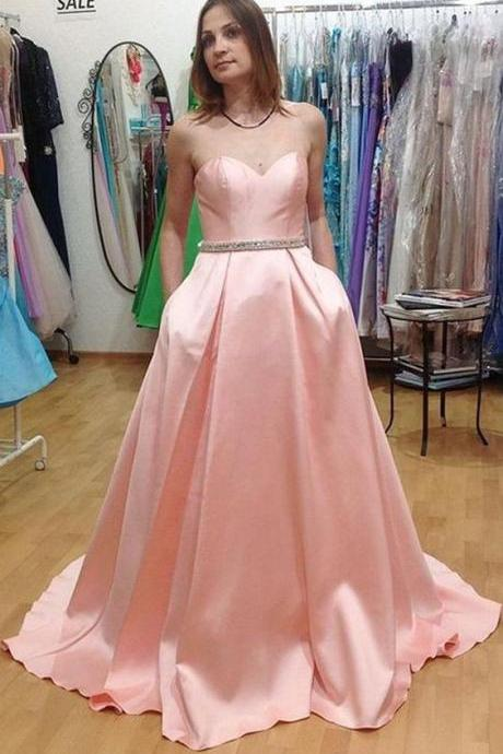 Custom Made Pink Sweetheart Neckline Sweep Train Satin A-Line Long Evening Dress, Prom Dresses, Wedding Gowns