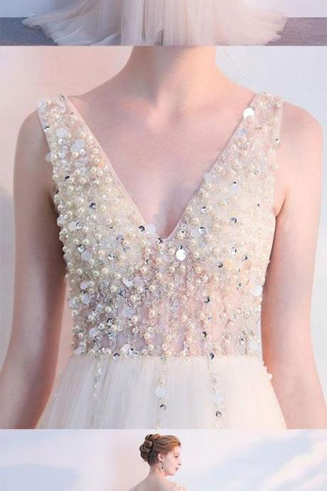 Custom Made V-Neckline Pearl and Sequin Beaded Tulle Formal Long Evening Dress, Prom Dresses, Wedding Gowns