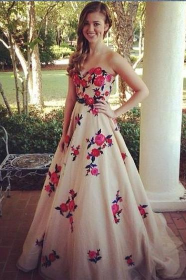 Custom Made Sweetheart Neckline A-Line Floral Embroidered Tulle Formal Long Evening Dress, Prom Dresses, Wedding Gowns
