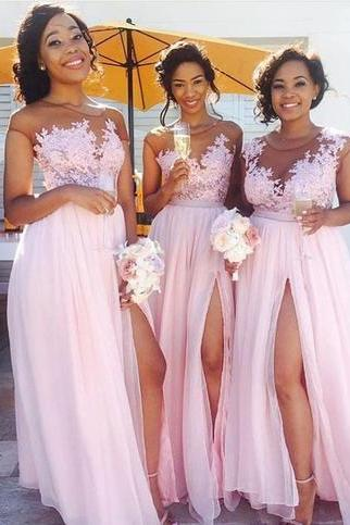 Custom Made Pink Lace Applique and Chiffon Sheer Illusion Neckline High Split Long Evening Dress, Formal Dresses, Prom Dresses, Graduation Dresses, Bridesmaid Dresses, Weddings