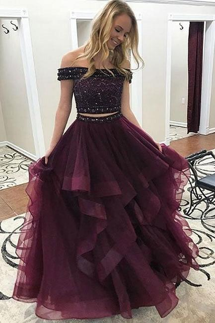 Custom Made Off-Shoulder Two-Piece Diamond Beaded Embellished Tulle Formal Long Evening Dress, Prom Dresses, Wedding Gowns