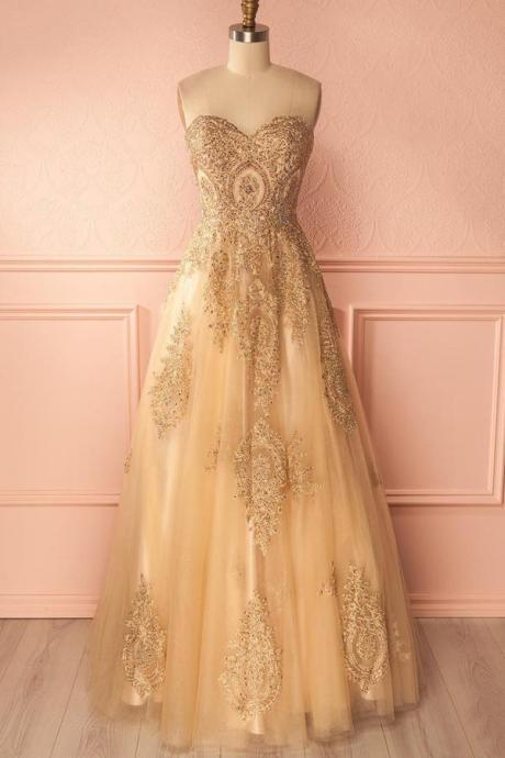 A Line Floor Length Sweetheart Sleeveless Beading Long Prom Dress,Party Dress M1871
