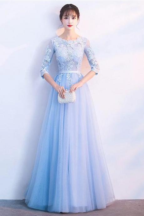 Blue tulle lace long prom dress, blue tulle lace bridesmaid dress M2433