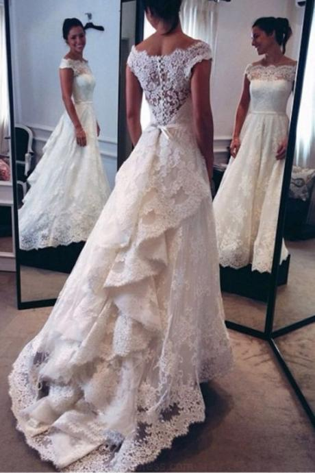 Classic Off-The-Shoulder Tiered Lace A-Line Wedding Dress M2503