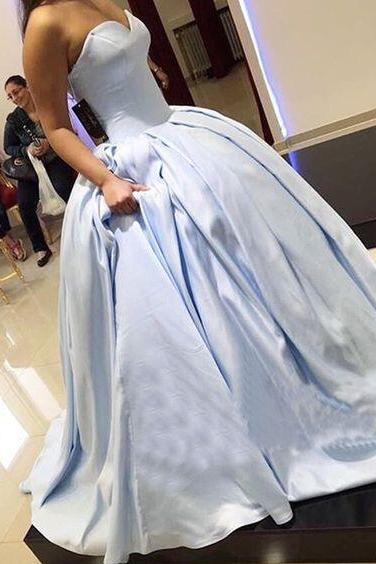 Charming Ball Gown Sweetheart Light Blue Satin Long Prom Dress M2625