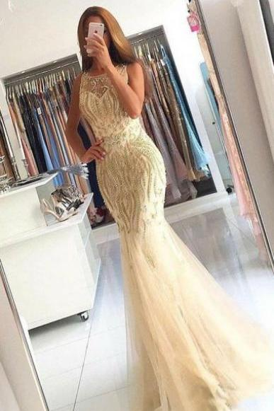 Mermaid Crew Sweep Train Champagne Tulle Sleeveless Prom Dress with Beading M2682