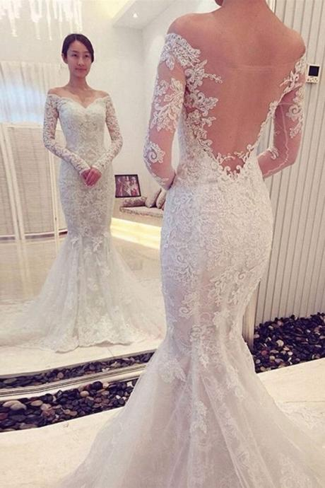 Charming Off The Shoulder Long Sleeves Lace Mermaid Wedding Dress M2708