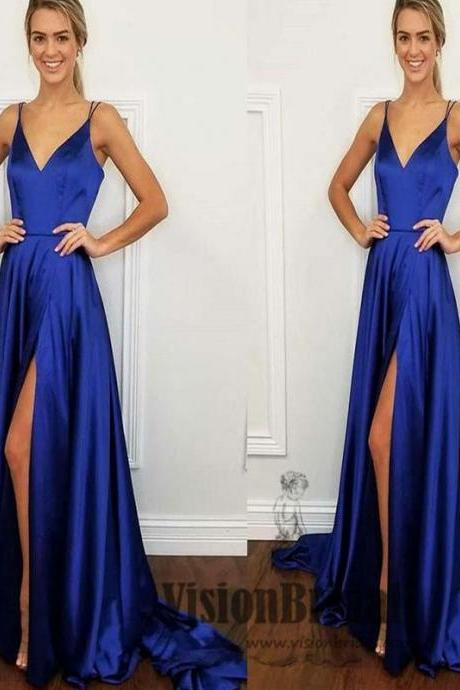Simple Spaghetti Straps V-Neck Side Slit Long Prom Dress, Sexy Prom Dress, Prom Dresses M2709