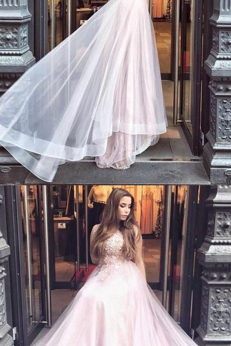 A-Line Round Neck Long Pearl Pink Tulle Prom Dress with Appliques M2832
