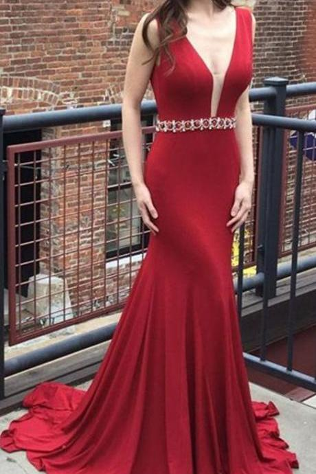 Burgundy Long Prom Dress,Sexy Deep V-neck Backless Sleeveless Mermaid Prom Dress,Formal Evening Gowns,Party Dresses M2982