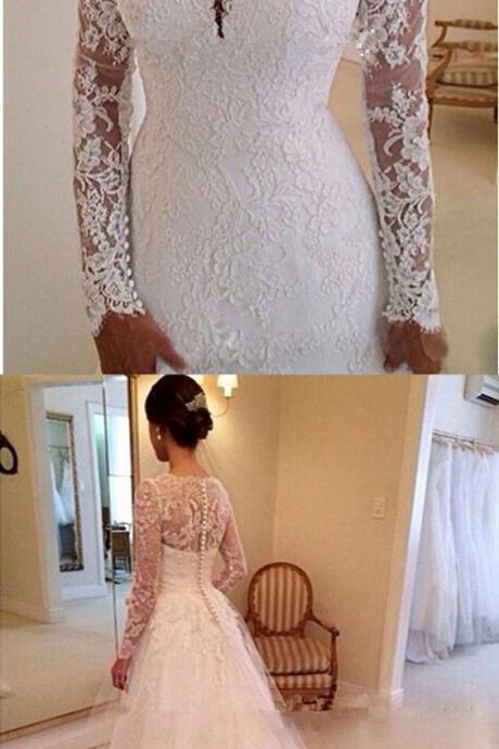 Elegant Sweetheart Long Sleeves Appliques Lace Wedding Dresses Chapel Bridal Gowns M3088