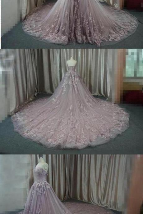 Ball Gown Wedding Dresses Luxury Brush Train Lace-up Sweetheart Tulle Bridal Gown M3410