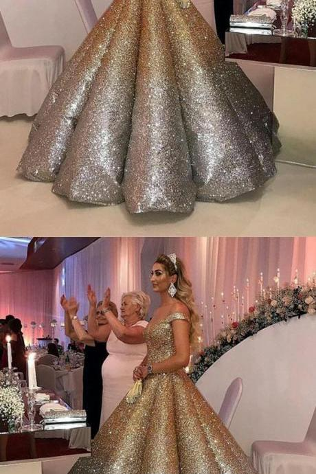 Bling Bling Sequins Ball Gowns Wedding Dresses Ombre Quinceanera Dress Off The Shoulder M3904
