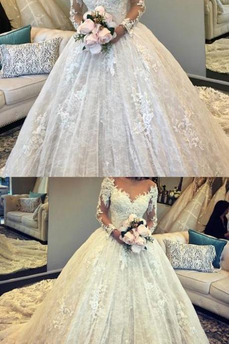 Vintage Long Sleeves Lace Ball Gown Wedding Dresses Illusion Neckline M3949