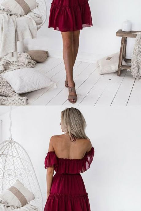 A-Line Halter Backless Above-Knee Burgundy Chiffon Homecoming Dress with Ruffles M4172