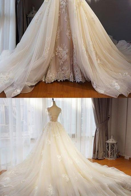 Unique champagne tulle lace long prom dress, champagne wedding dress M4257