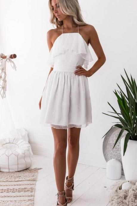 A-Line Halter Short White Homecoming Dress with Appliques M4267