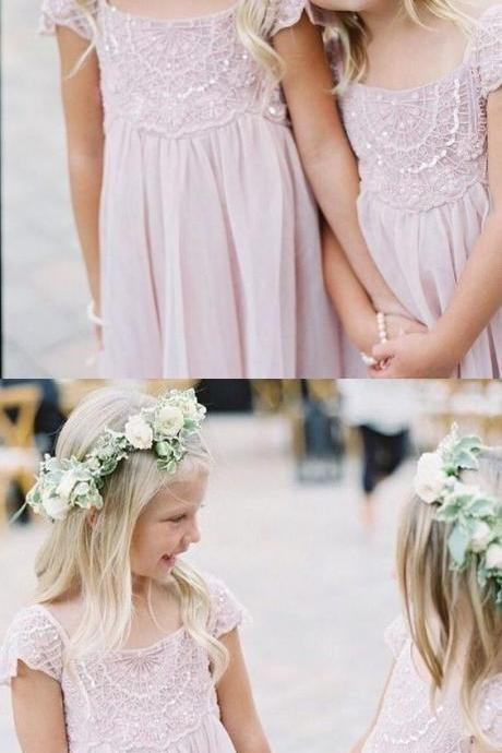 A-Line Scoop Short Sleeves Pink Chiffon Flower Girl Dress with Lace M4272