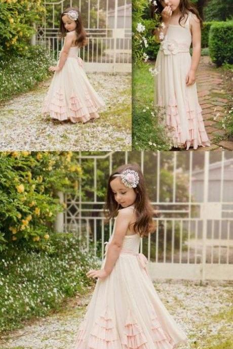 A-Line Square Neck Pearl Pink Chiffon Flower Girl Dress with Ruffles Flowers M4275