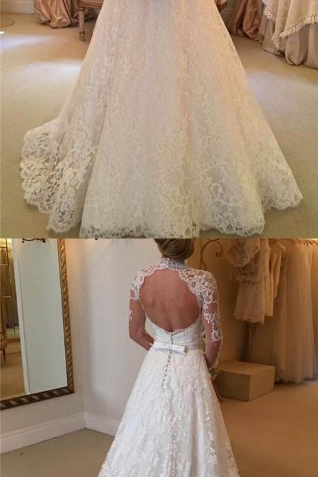 Stylish High Neck Long Sleeves Sweep Train Lace Wedding Dress with Bowknot Backless M4298