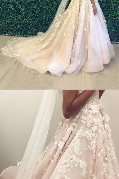 A-Line Spaghetti Straps Backless Court Train Pearl Pink Wedding Dress M4339
