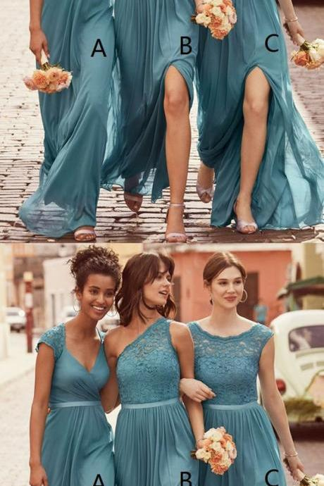 A-Line Scoop Floor-Length Ice Blue Chiffon Bridesmaid Dress with Lace M4394