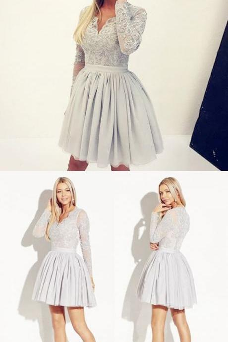 A-Line V-Neck Long Sleeves Grey Satin Homecoming Dress with Lace M4470