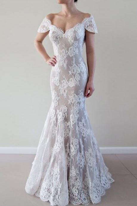 Elegant Mermaid Wedding Dress - Off Shoulder Lace Court Train Short Sleeves Backless M4480