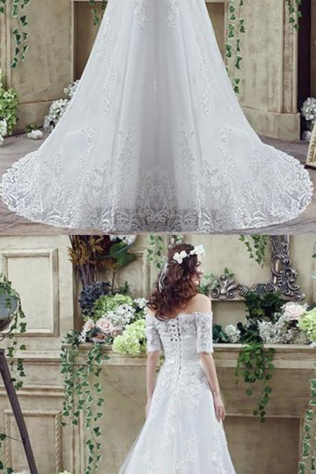tulle off-the-shoulder a-line wedding dresses with lace applique M4499