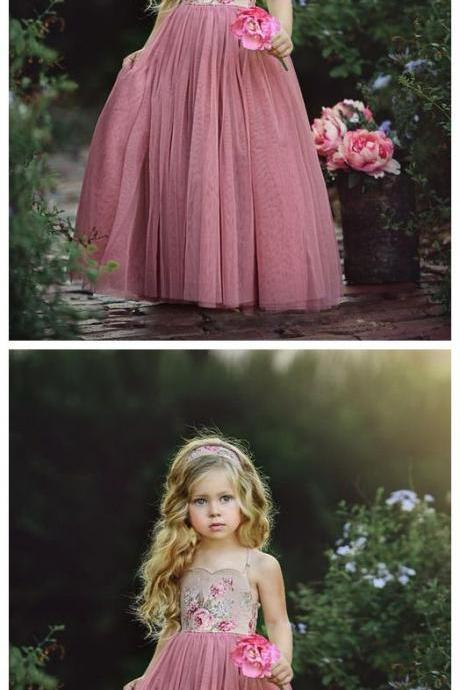 Flower Embroidery Long Dusty Rose Flower Girl Dresses M4570
