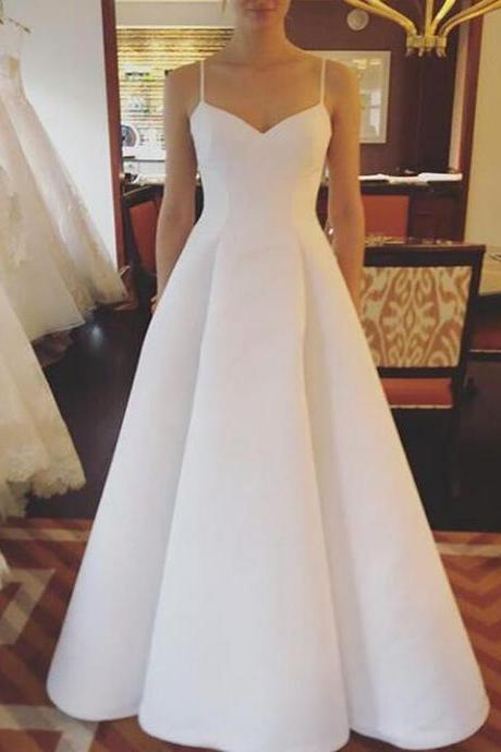 Simple Design Beach Spaghetti Straps Wedding Dress, A-Line Satin Backless Sleeveless Wedding Dress M4592