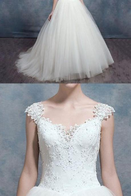 New Style White Ivory Lace Wedding Dresses Ball Gown Bridal Dress M4652