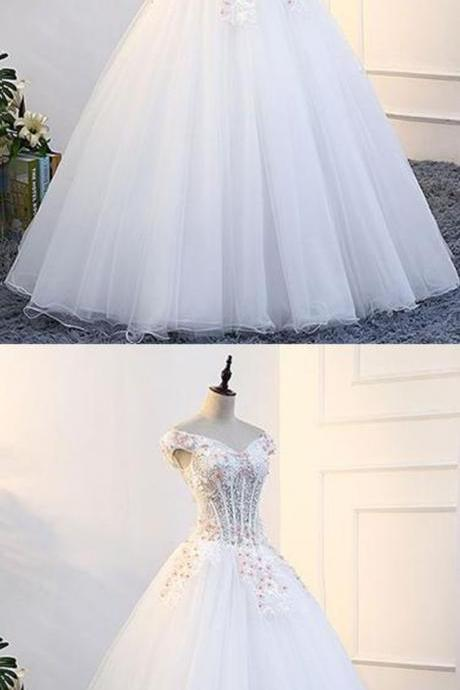 2018 New Evening Gowns | White tulle off shoulder prom gown wedding dress with cap sleeves M4655