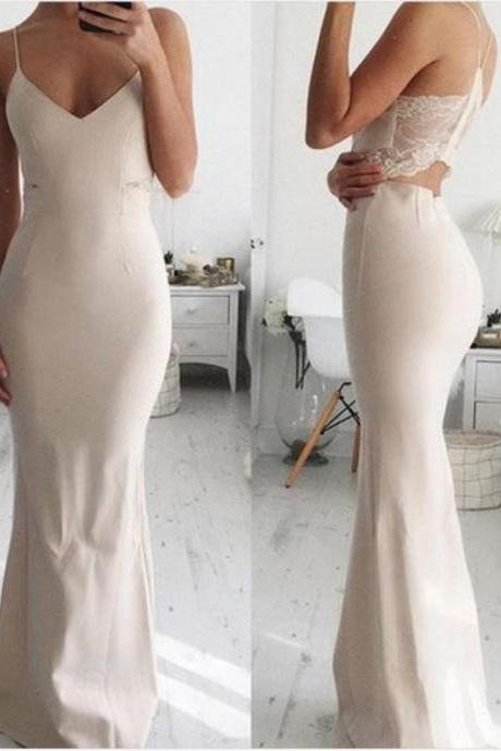 Elegant Mermaid Spaghetti Straps White Satin Floor-Length Prom/Evening Dress M4713