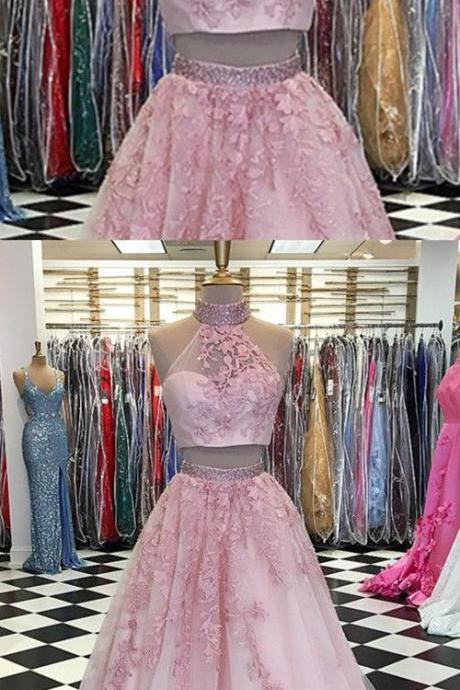 Two Piece Tulle Ball Gowns Quinceanera Dresses Beaded High Neck With Lace Embroidery M4718