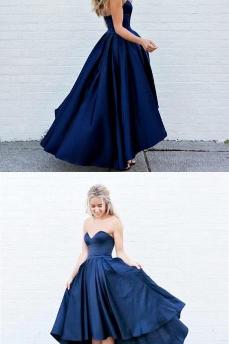 New Arrival simple dark navy blue high-low Prom Dress M4721