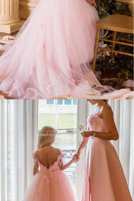 Floor-length Ball Gown Flower Girl Dresses With Handmade Flowers & Feathers & Beadings M4723